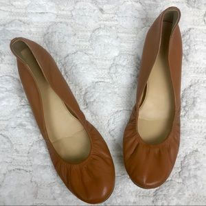 J. Crew Brown Anya Leather Ballet Flats